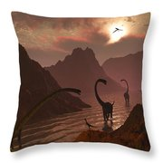 A Herd Of Omeisaurus Dinosaurs Throw Pillow