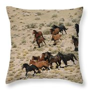 A Herd Of Wild Horses Gallops Throw Pillow