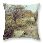 A Hill Farm Symondsbury Dorset Throw Pillow by Helen Allingham