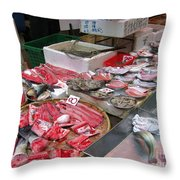 A Hong Kong Fishmonger Shop Throw Pillow