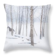 A Horse Stands Beside A Forest Of Bare Throw Pillow