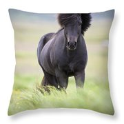 A Horse With Its Mane Blowing In The Throw Pillow