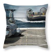 A Hovercraft Approaches Uss New Orleans Throw Pillow