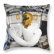 A Humanoid Robot In The Destiny Throw Pillow by Stocktrek Images