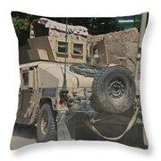 A Humvee Patrols The Streets Of Kunduz Throw Pillow