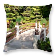 A Japanese Garden Bridge From Sun To Shade Throw Pillow