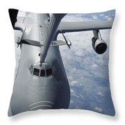 A Kc-10 Extender Prepares To Refuel Throw Pillow