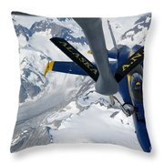 A Kc-135 Stratotanker Refuels An Fa-18 Throw Pillow by Stocktrek Images