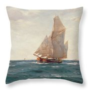 A Ketch And A Brigantine Off The Coast Throw Pillow