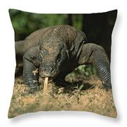 A Komodo Dragon Sensing The Air Throw Pillow