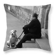 A Lady With Her Dog In Barcelona Throw Pillow