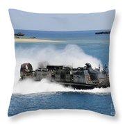 A Landing Craft Air Cushion Approaches Throw Pillow