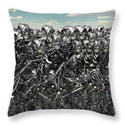 A Large Gathering Of Robots Throw Pillow