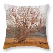 A Leafless Tree That Is Home To A Large Number Of Big Birds In The Middle Of A Ground Throw Pillow