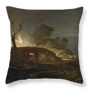 A Lime Kiln At Coalbrookdale Throw Pillow by Joseph Mallord William Turner