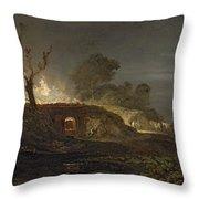 A Lime Kiln At Coalbrookdale Throw Pillow