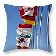 A Line Of Flags Represent The Countries Throw Pillow