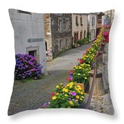 A Line Of Flowers In A French Village Throw Pillow