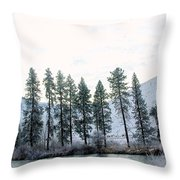 A Line Of Trees In Winter  Throw Pillow