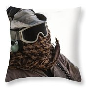 A Loadmaster Protects His Head Throw Pillow