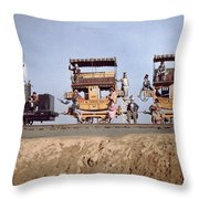 A Locomotive And Two Coaches Throw Pillow