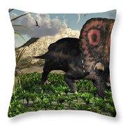 A Lone Torosaurus Dinosaur Feeding Throw Pillow