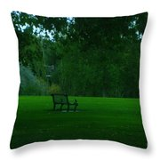 A Lonely Autumn Bench  Throw Pillow