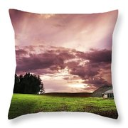 A Lonely Farm Building In An Open Field Throw Pillow