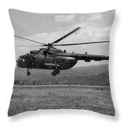 A Macedonian Mi-17 Helicopter Landing Throw Pillow