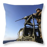 A Machine Gunner Mounts A M-2 Throw Pillow