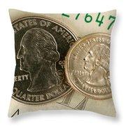 A Magnetically Shrunken Quarter Throw Pillow