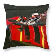 A Mallard Duck On The Canal Throw Pillow
