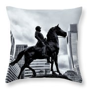 A Man A Horse And A City Throw Pillow