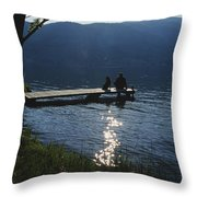A Man And His Dog On A Lake Skaha Dock Throw Pillow