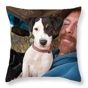 A Man And His Puppy In Wv Throw Pillow