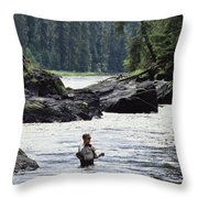 A Man Fishes For Cutthroat Trout In An Throw Pillow