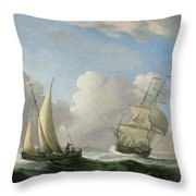 A Man-o'-war In A Swell And A Sailing Boat Throw Pillow