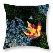A Maple Leaf Lies On A Bed Of Moss Throw Pillow