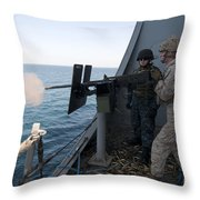 A Marine Fires A .50-caliber Machine Throw Pillow