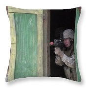 A Marine Posts Security Out Of A Window Throw Pillow