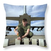 A Marine Replaces Flares In Flare Throw Pillow