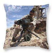 A Marine Sets Up A Laser Designator Throw Pillow by Stocktrek Images