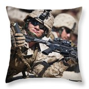 A Marine Shows His Cleared Weapon Throw Pillow