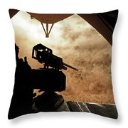 A Marine Waits For Dust To Clear While Throw Pillow