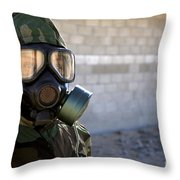 A Marine Wearing A Gas Mask Throw Pillow