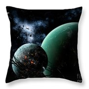 A Massive Space Station Orbits A Large Throw Pillow