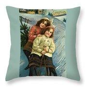 A Merry Christmas Postcard With Sledding Girls Throw Pillow