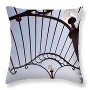 A Metal Structure That Is Part Of The Lamp Shade Arrangement In A Garden Throw Pillow