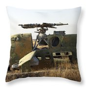A Mi-35 Attack Helicopter At Kunduz Air Throw Pillow