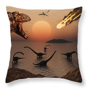 A Mighty T. Rex Roars From Overhead Throw Pillow